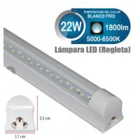 TUBO LED REGLETA 22W 150 LEDS BLANCO FRIO 5000-6500 K 1800 LM 4 PIES T8W22R05P